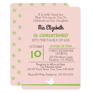 Dove on Branch Pink Christening Invitation
