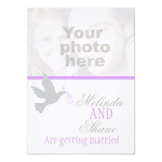 Dove purple ribbon couple photo wedding invitation