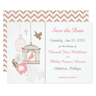 Doves & Cages - 3x5 Save the Date Card