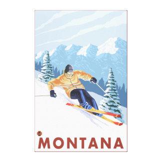 Downhhill Snow Skier - Montana Canvas Print
