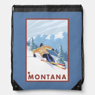 Downhhill Snow Skier - Montana Drawstring Bag