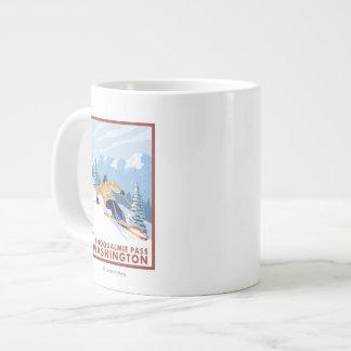 Downhhill Snow Skier - Snoqualmie Pass, WA Large Coffee Mug