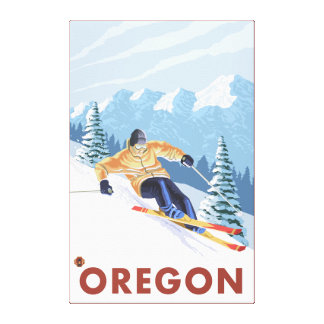 Downhhill Snow Skier- Vintage Travel Poster 2 Canvas Print