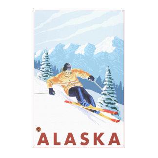 Downhhill Snow Skier- Vintage Travel Poster Canvas Print