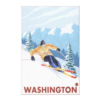 Downhhill Snow Skier - Washington Canvas Print