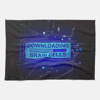 Downloading brain cells. tea towel