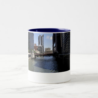 Downtown Chicago by River Two-Tone Coffee Mug