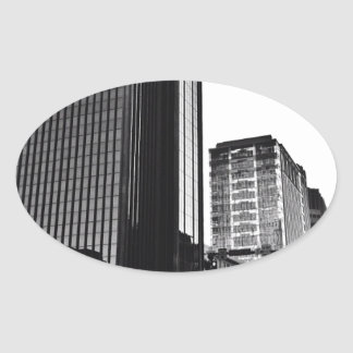 Downtown City Buildings, Black & White Oval Sticker