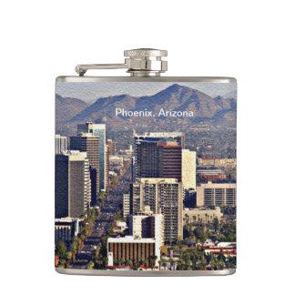 Downtown View of Phoenix, Arizona Hip Flask