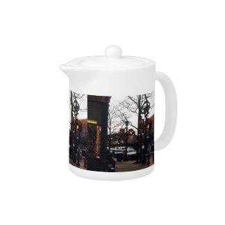 Downtown Willoughby Christmas Photo Tea Pot