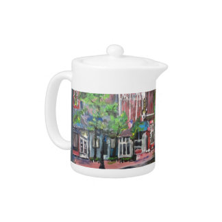 Downtown Willoughby, Ohio Painting Tea Pot