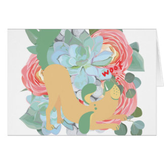 Downward Dog with Flowers Card