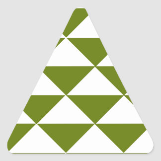 Drab Green and White Triangles Triangle Sticker