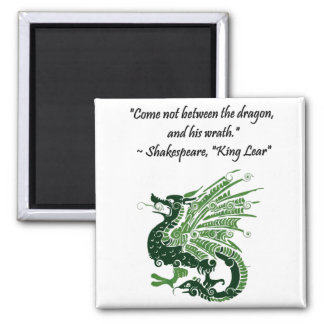 Dragon and His Wrath Shakespeare King Lear Cartoon Square Magnet