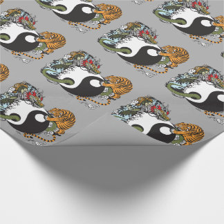 dragon and tiger yin yang symbol wrapping paper