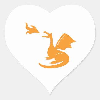 Dragon Breathing Fire Heart Sticker