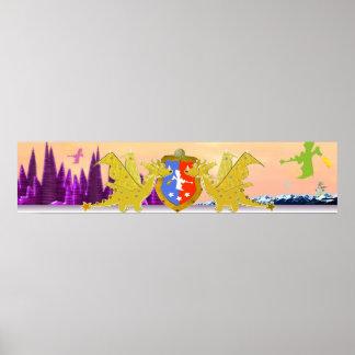 Dragon Crest Cute Cartoon Dragons World Print