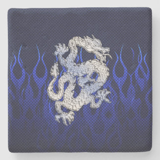 Dragon in Chrome like blue Carbon Fiber Styles Stone Coaster