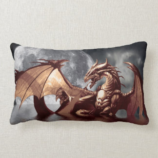 Dragon & Moon Fantasy Mythical Throw Pillow