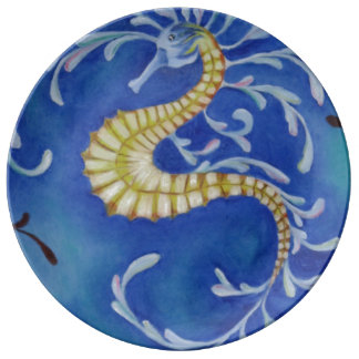 Dragon Seahorse printed on Porcelain Plate