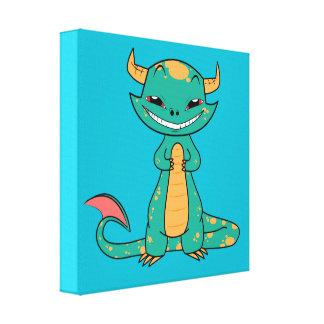 Dragon Smiling, Cute Cartoon Canvas Prints