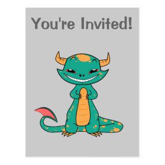 Dragon Smiling, Cute Cartoon Postcard