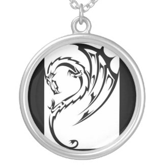 dragon tribal tattoo silver plated necklace