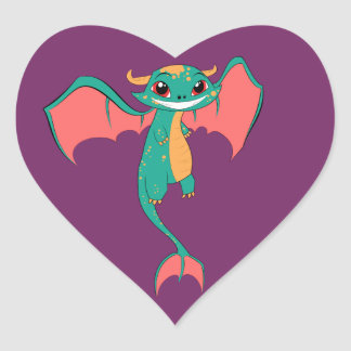 Dragon Wings, Cute Cartoon Heart Sticker