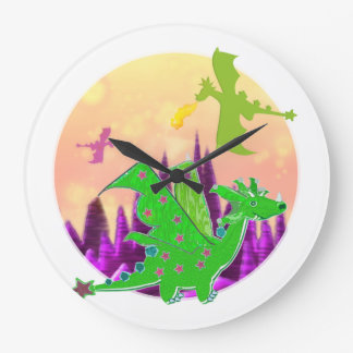 Dragon World Green Cartoon Dragon Clock