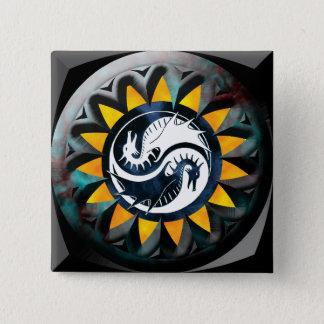 Dragon Yin Yang 15 Cm Square Badge
