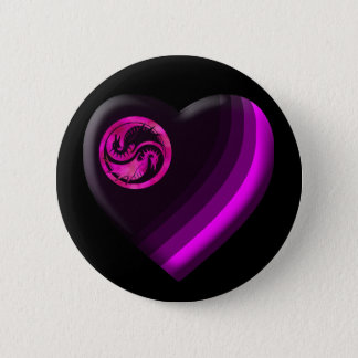 Dragon Yin Yang 6 Cm Round Badge