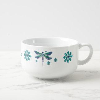 Dragonfly Elegant Jewelled Folk Art Soup Mug