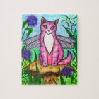 Dragonfly Fairy Cat Mushroom Fantasy Art Puzzle