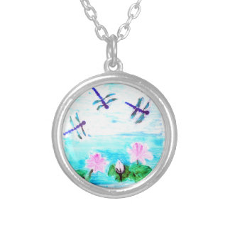 Dragonfly, Lily Flowers Pond Painting Silver Plated Necklace