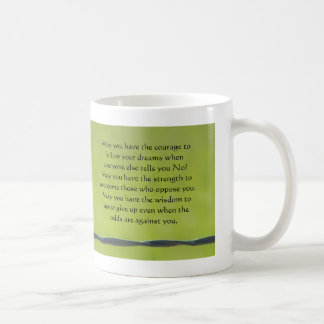 dragonfly on barbwire mug, May you have the cou... Basic White Mug