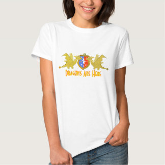Dragons Are Here Cartoon Dragon Crest Shirt