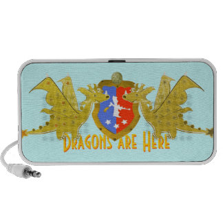 Dragons Are Here Cartoon Dragons iPhone Speaker