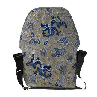 Dragons, Flowers, Butterflies - Blue on Dull Gold Messenger Bag