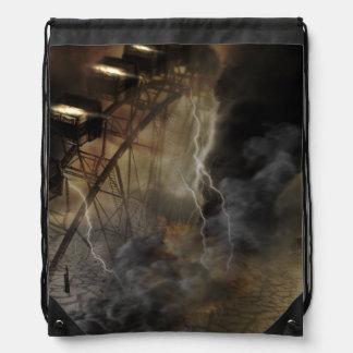Dramatic Ferris Wheel Falls in a Lightning Storm Drawstring Bag