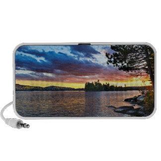 Dramatic sunset at lake travelling speaker