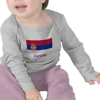 Drapeau Serbie avec le nom en français Tees