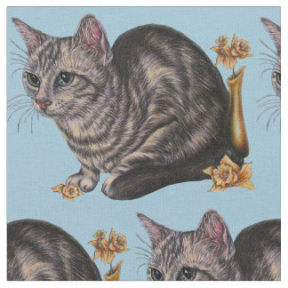 Drawing of Cat with Daffodil Flowers Fabric