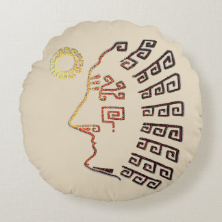 Drawing of Machu Picchu Silhouette Round Cushion