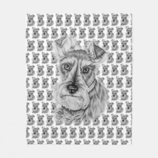 Drawing of Schnauzer Dog Art Fleece Blanket