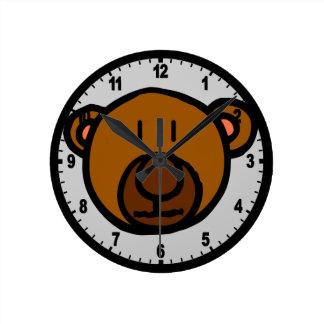 Drawn Teddy Bear Face Wallclock