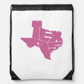 Drawstring Backpack with Pink Texas State Map