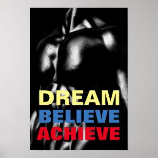 Dream Believe Achieve Motivational Bodybuilding Poster