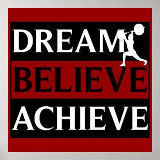 Dream Believe Achieve Weightlifting Poster