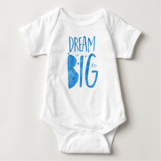 Dream Big, inspirational quote, blue watercolor Baby Bodysuit