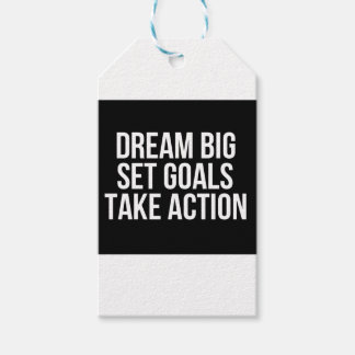 Dream Big Set Goals Take Action Motivational Quote Gift Tags